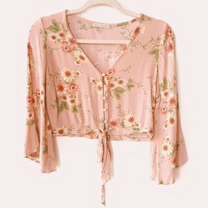 Active USA Floral Print Blush Pink Cropped Top
